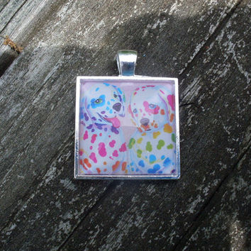 Lisa Frank Spotty and Dotty Paws RAINBOW DALMATIAN Sticker Square Pendant Charm Necklace