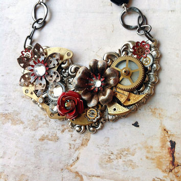 Steampunk Flower Necklace Black and Red Enamel by bionicunicorn