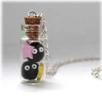 Spirited Away Totoro Soot Sprites & Stars Glass Bottle Vial Necklace. Susuwatari