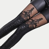 Punk Black faux leather gothic lace Leggings bandage Women