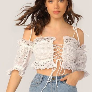 Lace Up Cold Shoulder Embroidered Lace Top