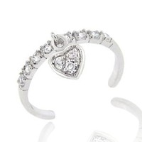 Sterling Silver CZ Dangling Heart Toe Ring