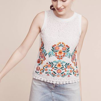 Embroidered Lace Shell