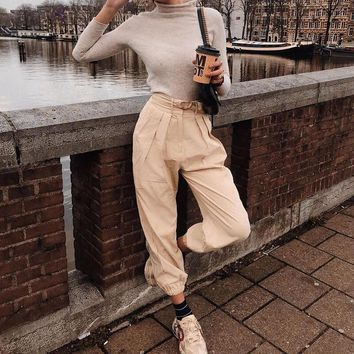 Elegant Sashes Pockets Cargo Pants Women Summer High Waist Streetwear Female Ankle Length Pants Casual Solid Long Trousers