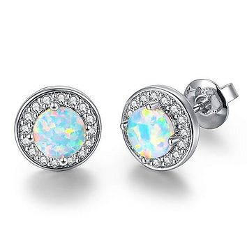 2.00 Ct Opal Created Round Halo Stud Earring in 18K White Gold Plated