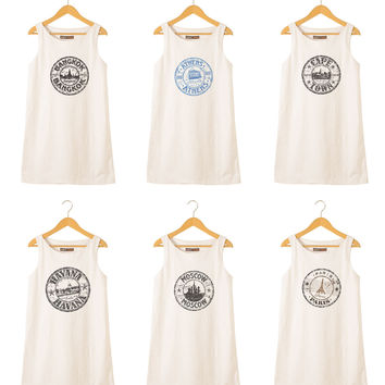 Stamps of countries-2 Printed Vintage 100% Cotton Linen Mini Shift Dress WDS_01