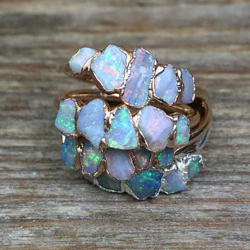 Raw opal ring size 3 3,5 4 4,5 5 5,5 6 6,5 7 7,5 8 8,5 9 9,5 10 10,5 11 11,5 / Australian opal ring / Fire opal ring / Gift for wife