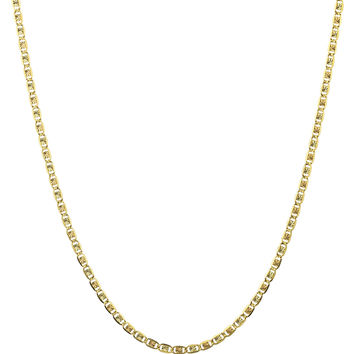 10k Tri Tone Gold 2mm Valentino Chain Necklace 16-24inch