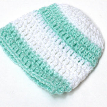 Crochet Baby Beanie newborn size white and mint stripes