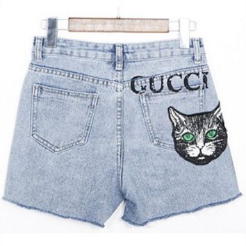 GUCCI Summer Fashion New Letter Print Embroidery Cat Women Shorts Light Blue