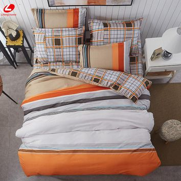 Home Textile Summer bedding set orange duvet cover set Geometric bed set 3/4pcs bed set Brief bed linen duvet cover + flat sheet