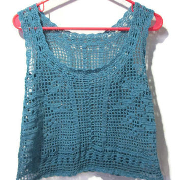 Filet roses crochet tank top in teal size small