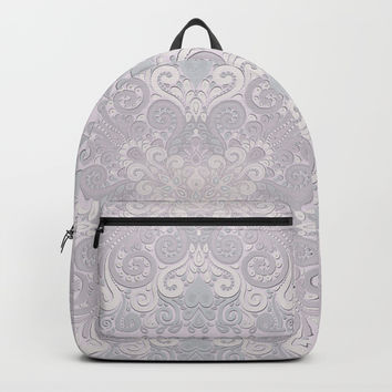 Powder Pink Watercolor Ornate Backpacks by IvaW