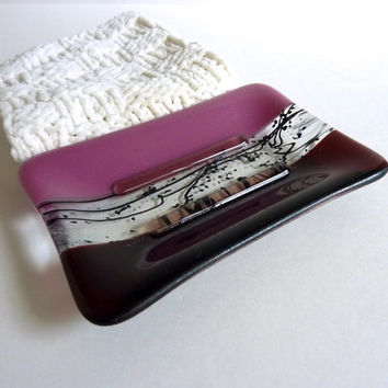 Soap Dish in Deep Plum Fused Glass