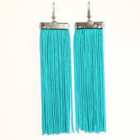 Turquoise Blue Earrings. Blue Long Earrings. Fringe Earrings