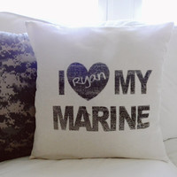 Personalized I Love My Marine 16 x 16 Pillow Cover, Military, patriotic, present, houswarming gift, 4th of July