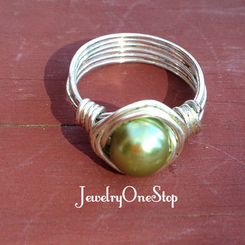 Olive Green Pearl wire ring size 8