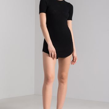 AKIRA Short Sleeve Round Neck Ribbed Knit Bodycon Scoop Hem Mini Dress in Black