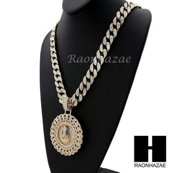 "Iced Out XL King tut Pharaoh Round Pendant 30"" Iced Out Heavy Cuban Chain N0045"