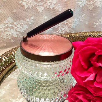 Sale Vintage Pink Guilloche Vanity Powder Dish Mirror or Jewelry Box Trinket Box with Hobnail Glass Jar