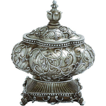 Attractive Silver Polystone Urn With Intricate Detailing