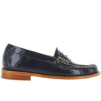 Bass Weejuns Whitney   Navy Patent Leather Classic Penny Loafer
