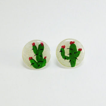 Cactus Earrings, Succulent Earring, Hand Painted Studs, Green Plant Earrings, Cacti Jewelry, Botanical Earrings, Plastic Stud, Teens Jewelry