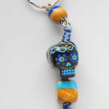 Handpainted Sugarskull and Wood Beaded Keychain Colour Coordinated Waxed Fibre Macrame
