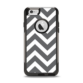 The Sharp Gray & White Chevron Pattern Apple iPhone 6 Otterbox Commuter Case Skin Set