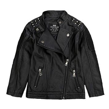 New Boys Faux Leather Jackets Children Fashion Coats Girls Outerwear Spring & Autumn