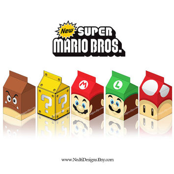 Mario Bros Printable Milk Box Template, DIY, Party Gift Box, Favor Box, Candy Box, Luigi, Party Supplies, Instant Download, JPEG, A4 Paper