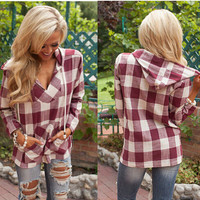 Hooded Deep V-neck Pocket String Casual Plaid Blouse