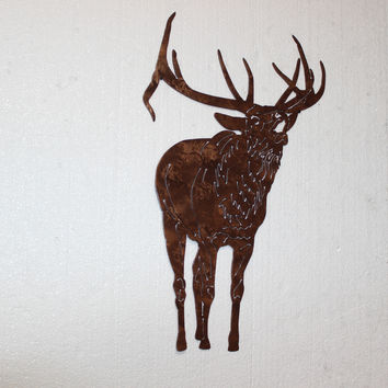 Elk Bugling Front View Bull Elk Metal Wall Art Country Rustic Hunting Home Decor