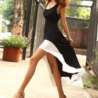 Women Summer Long Dress Sexy Scoop Neck Backless Asymmetric Vest Casual