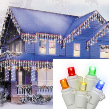 Set of 70 Multi-Color LED Wide Angle Icicle Christmas Lights - White Wire