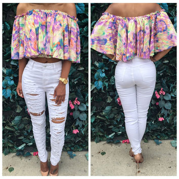 Multi Color Off Shoulder Cropped Top