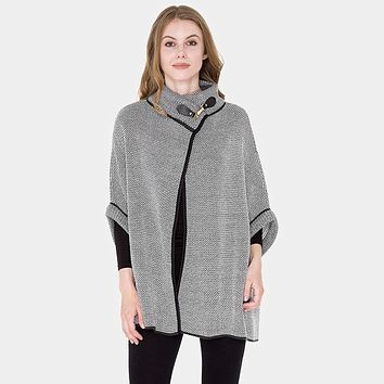 Buckle Detail Textured Poncho