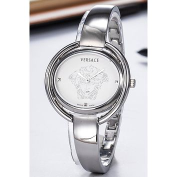 Versace new simple fashion women's waterproof bracelet women's watch Silver
