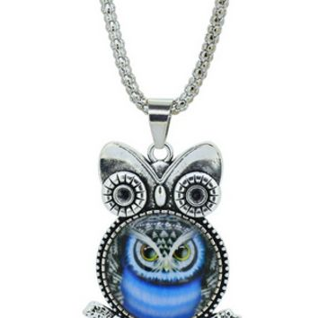 Blue Owl pendant necklace in Jewelry Vintage Sterling Silver