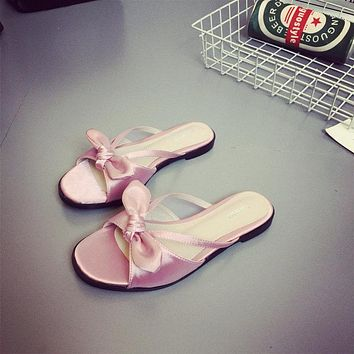 Bowknot Hollow Out Peep Toe Flat Slippers