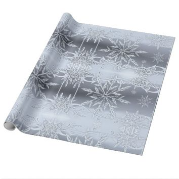 Silver scroll snowflake wrapping paper