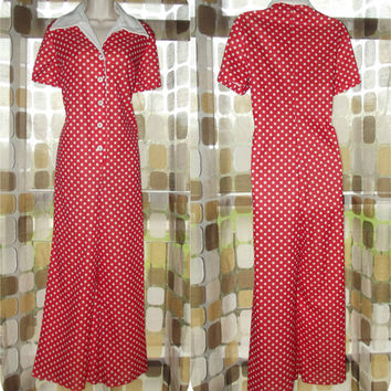 Vintage 70s CRAZY Red & White Polka Dot Palazzo Pants Jumpsuit Wide Leg Playsuit Romper L/XL