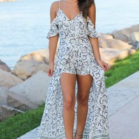 Ivory and Blue Maxi Romper with Ruffles