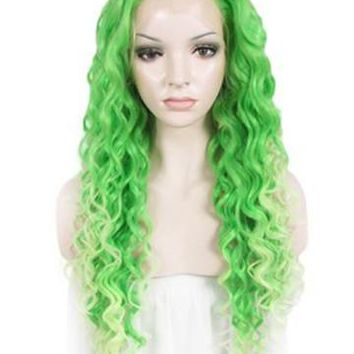 Cyan Teal Green Curly Ombre Long Synthetic Lace Front Wig