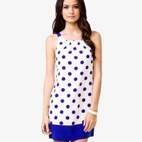 Contrast Polka Dot Shift Dress