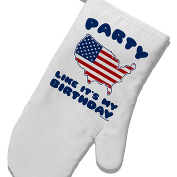 Party Like It's My Birthday - 4th of July White Printed Fabric Oven Mitt