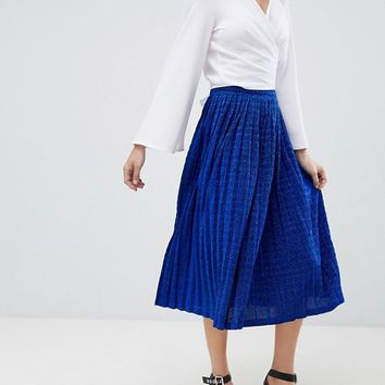 Unique 21 Blue Glitter Pleated Skirt at asos.com
