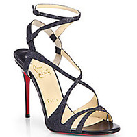Christian Louboutin - Audrey Glitter Strappy Sandals - Saks Fifth Avenue Mobile