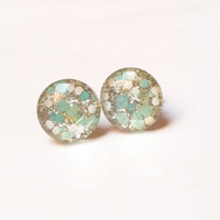 Stud earrings,liberty mint and white resin glitter stud earrings,tiny stud earrings,resin stud earrings,glitter stud earrings, stud earrings