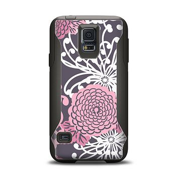 The Pink and White Solid Flowers Samsung Galaxy S5 Otterbox Commuter Case Skin Set